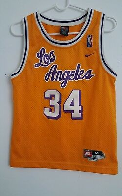 online store e400d 768c4 NIKE THROWBACK SHAQ Shaquille O'Neal Los Angeles Lakers Jersey Youth Medium