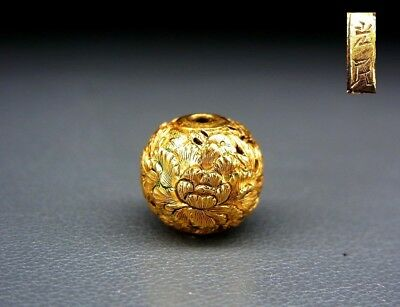 SUPERB Signed Flowers OJIME NETSUKE19thC Japanese Edo Antique for INRO  f467