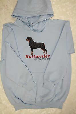 Rottweiler Embroidered On a 2XL Lt Blue Hooded Sweatshirt