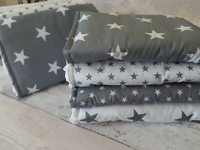 Grey and white star cot bar bumper wraps  free p&p