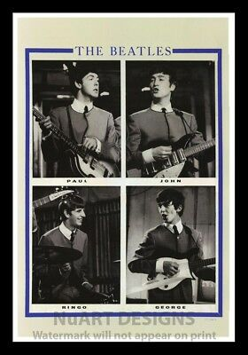 """Framed Vintage Style Rock 'n' Roll Poster """"THE BEATLES""""; 12x18"""