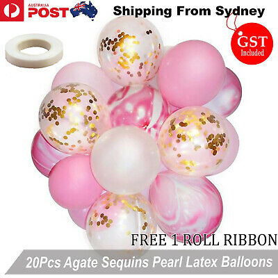 20pcs Pink Marble Confetti Helium Balloons Agate Sequins Balloon Wedding Party d