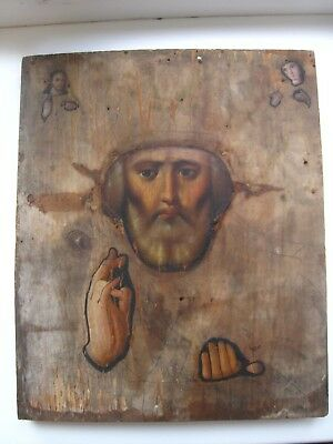 Antique 19c Russian Orthodox Hand Painted Icon Nicholas Wonderworker