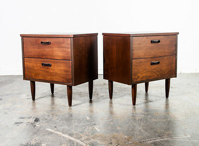 Mid Century Modern Nightstands End Side Tables Pair Vintage Drawers Denmark Wood