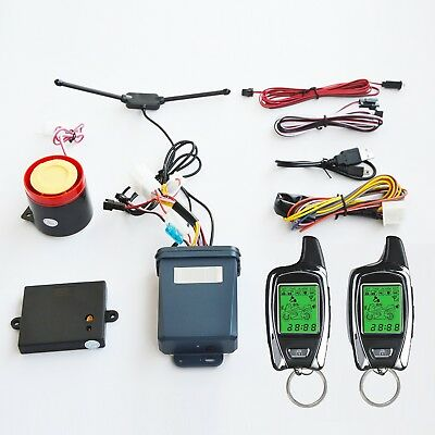 Motorcycle Alarm security system With Two Transmitters LCD Remote Starter 2018
