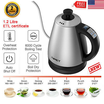 Electric Gooseneck Kettle, NPET K6100 Preset Variable Heat Settings Coffee Drip