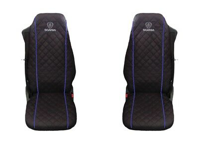SCANIA Truck Seat Covers 2 piece (1+1) BLUE PIPING
