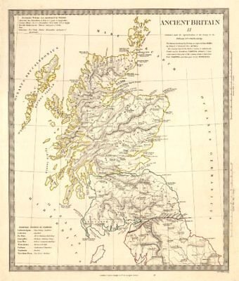 ANCIENT BRITAIN Caledonia-Scotland. Roman road town names Ptolemy. SDUK 1845 map