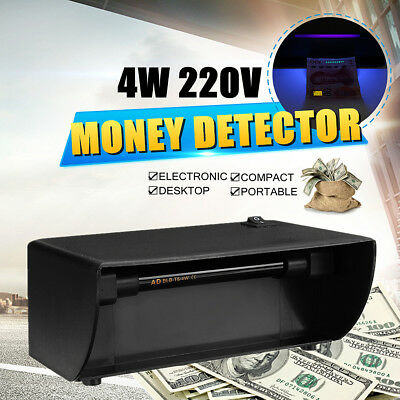 UV Counterfeit Money Checker Fake Paper Bank Note Currency Detector Scanner 220V