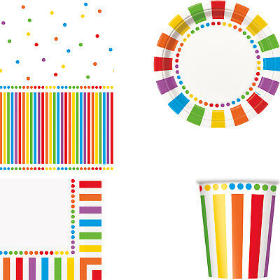 Rainbow Spots & Stripes Birthday Party Tableware Tablecover Plates Cups Napkins