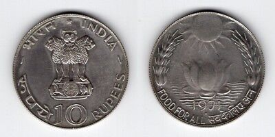 INDIEN   10 Rupees 1971   F.A.O   Lotusblüte    Silber