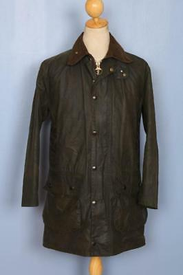 Mens BARBOUR Border Waxed Jacket Green Size 34