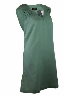 Womens Green Sleeveless V Neck Linen Blend Shift Dress with Pockets 10 12