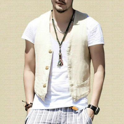 Mens Linen Cotton Waistcoat Casual Solid Plain Suit Vest Wedding Formal Tuxedo Y