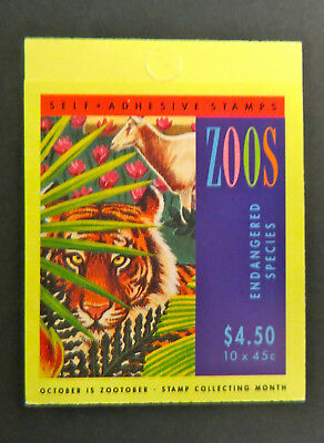 1994 Australian Stamp booklet - Endangered Species - Zoos -10 x 45cent MNH