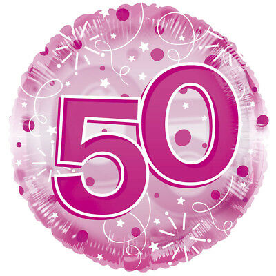 """50th Birthday Pink 24"""" Clearview Fifty Fiftieth Balloon Party Decorations"""