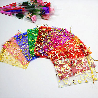 100 PCS Organza Jewelry Candy Gift Pouch Bags Wedding Party Xmas Favors Decor Sn