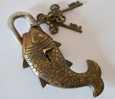 Vintage Indian Hand Crafted  Antique Brass Unique Fish Shape Padlock With 2 Key