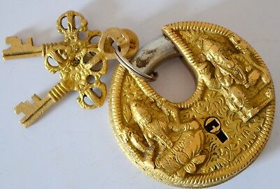God Ganesha Hand Crafted Brass Unique Vintage Indian Antique Padlock With 2 Key