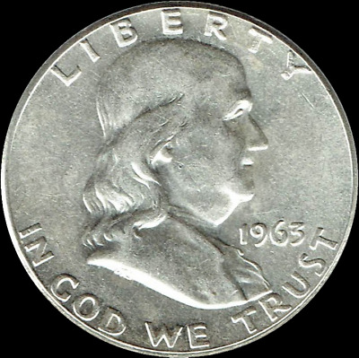 "A 1963-D Franklin Half Dollar 90% SILVER US Mint ""Average Circulation"""