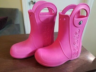 PINK CROCS GIRLS Rain Boots Size 13 Used Style 12803-730 Kids Handle ... 41197b9c153