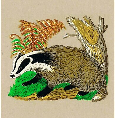 10 Small Badger Decals Image Transfer Countryside craft Decoration Unique Retro