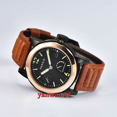 Parnis 44mm PVD case golden bezel Power Reserve seagull 2530 automatic watch 916
