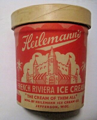 Nos Vintage Heileman's French Riviera Ice Cream Advertising Container