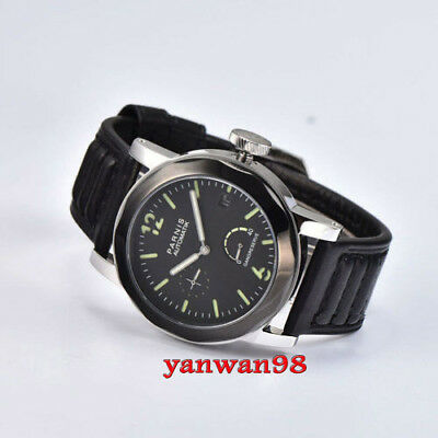 Parnis 44mm black dial PVD bezel Power Reserve Sapphire seagull automatic watch