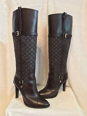 3b20316e5c96 Louis Vuitton Brown Leather LV Monogram Tall Boot Shoes 39