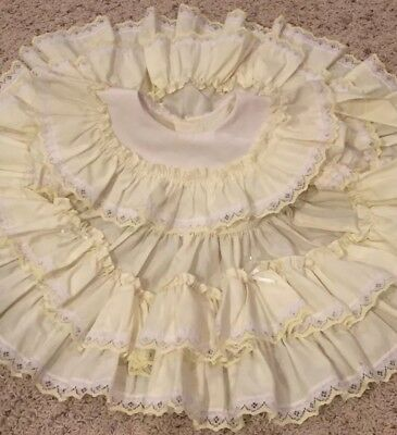 Vintage Baby Dress Full Circle Yellow Ruffle Lace EST 9 12 Months Party No Tag