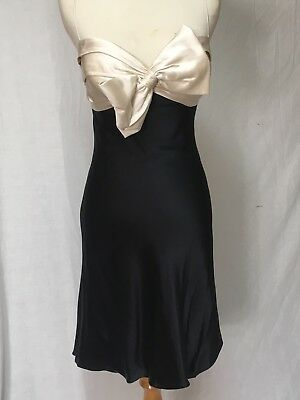 Dina Bar El Short Black Silk Bow Front Cocktail Party Dress Size
