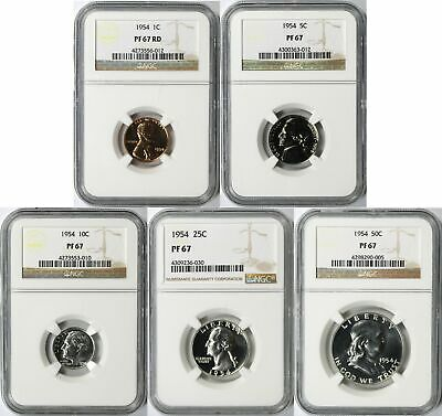1954 Proof Set 5 U.S. Coins NGC PF67 1c 5c 10c 25c 50c