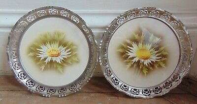 Pair Of Art Nouveau Bmf Germany Hand Painted Porcelain Plate With Pewter Border