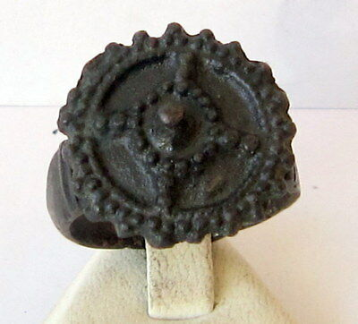 MAGNIFICENT, ANTIQUE HUGE BRONZE RING,NICE PATINA, CIRCA 1800's  # 855