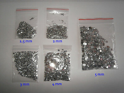 1000 Crystal Clear Flat Back Rhinestone Gems - 1.5 mm - 5 mm - Buy 4 get 1 free