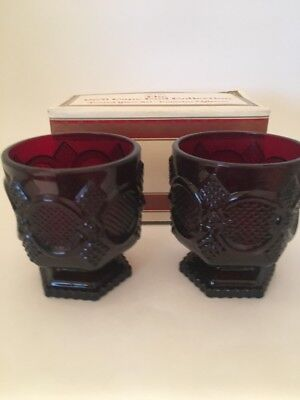 Set of 2 RUBY RED AVON CAPE COD Footed Coffee Mugs Glass Pedestal 1876 Cups