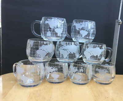 1970's Nescafe Nestle 9 WORLD MUGS Globe Cups Etched Glass Unused with Stickers