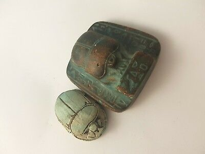 Rare Egyptian Unique Amulet Beetle Scarab Ancient Art & Antiquities