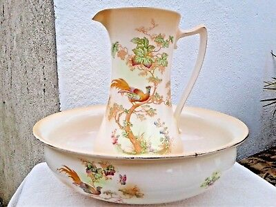 LARGE ANTIQUE A.G.RICHARDSON & Co Ltd CROWN DUCAL WARE WASH BOWL & JUG c 1916