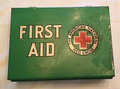 1950s American Red Cross First Aid Kit Metal Box Wall Mount w/ Most Supplies