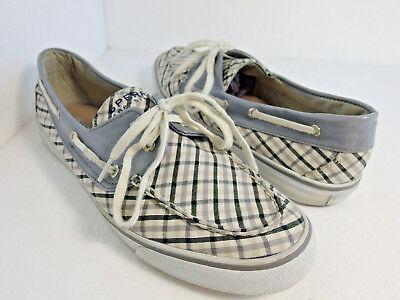 1f9b774941a Womens SPERRY TOP SIDER 11 Gray Plaid Biscayne Boat Shoes Metallic Lace Up