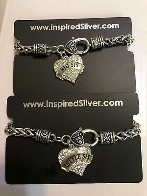 Inspired Silver Color Big and Little Sis Bracelet with Heart Shaped Pendant