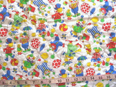 """1 yd x 43"""" One-Sided Pre Quilted Cotton Fabric, White with Circus Clowns, Toys"""