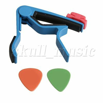 Blue Aluminum Alloy Guitar Capo w/ Pick Holders for Electric Classical Guitar