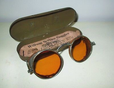 Antique WILLSON Amber Safety Goggles Sunglasses Spectacles Vtg Retro STEAMPUNK