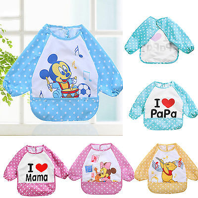 Baby Toddler Long Sleeve Waterproof Feeding Apron Bibs Saliva Smock Burp Clothes