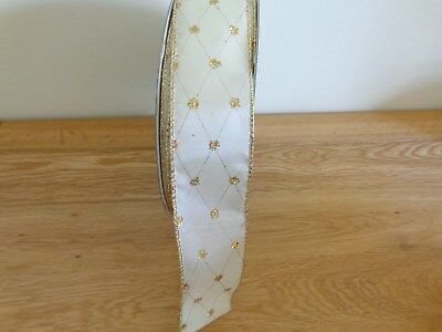 5 Metres Green With Gold Mesh Pattern Wire Edged Ribbon 3.8cm//1.5 inch Wide.