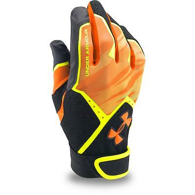 Under Armour CleanUp Batting Gloves, Youth, Orange, Neon Yellow Lining