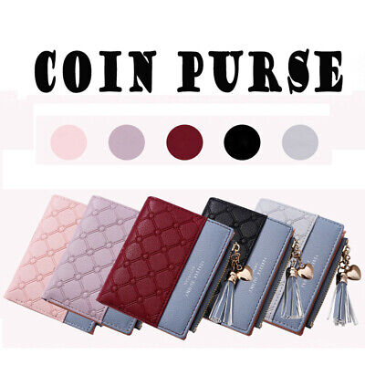Zipper Bifold Tassels Coins Purse Card Holder Women Leather Wallet Clutch Bag